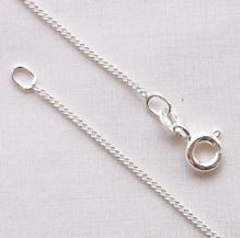 "Sterling Silver Chain 16"" (40cm) Light Curb Diamond Cut"